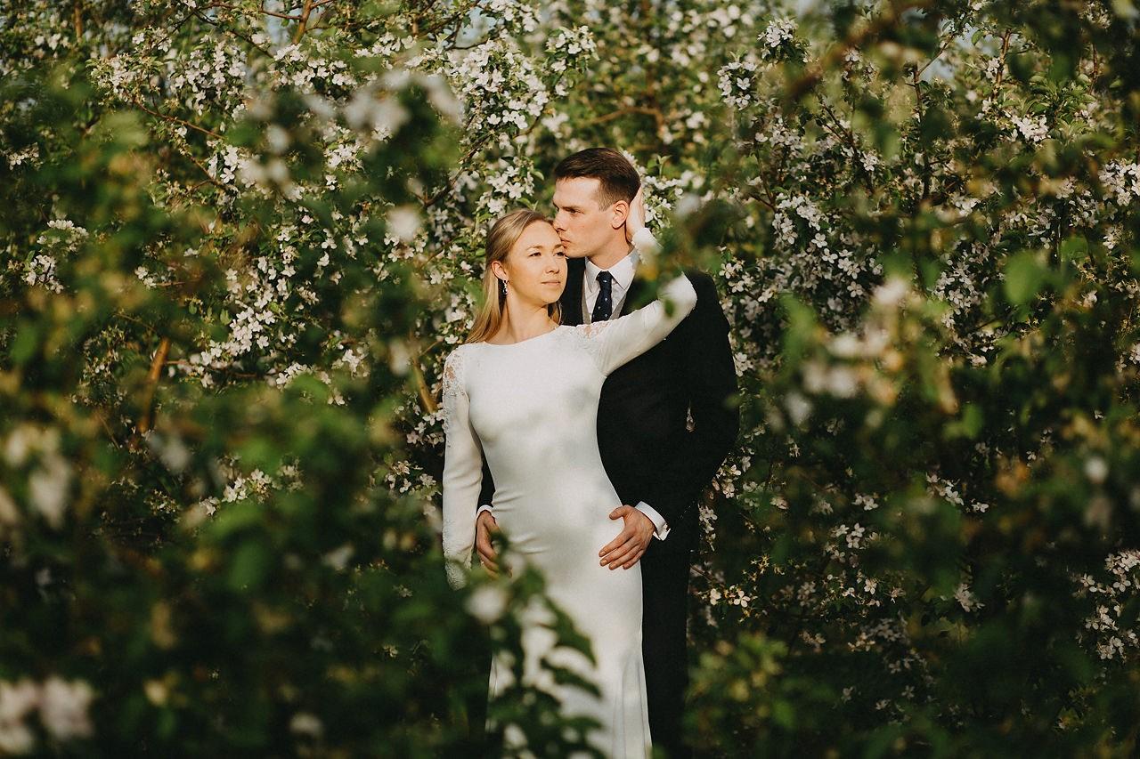 sesja ślubna w sadzie, zdjęcia ślubne w sadzie