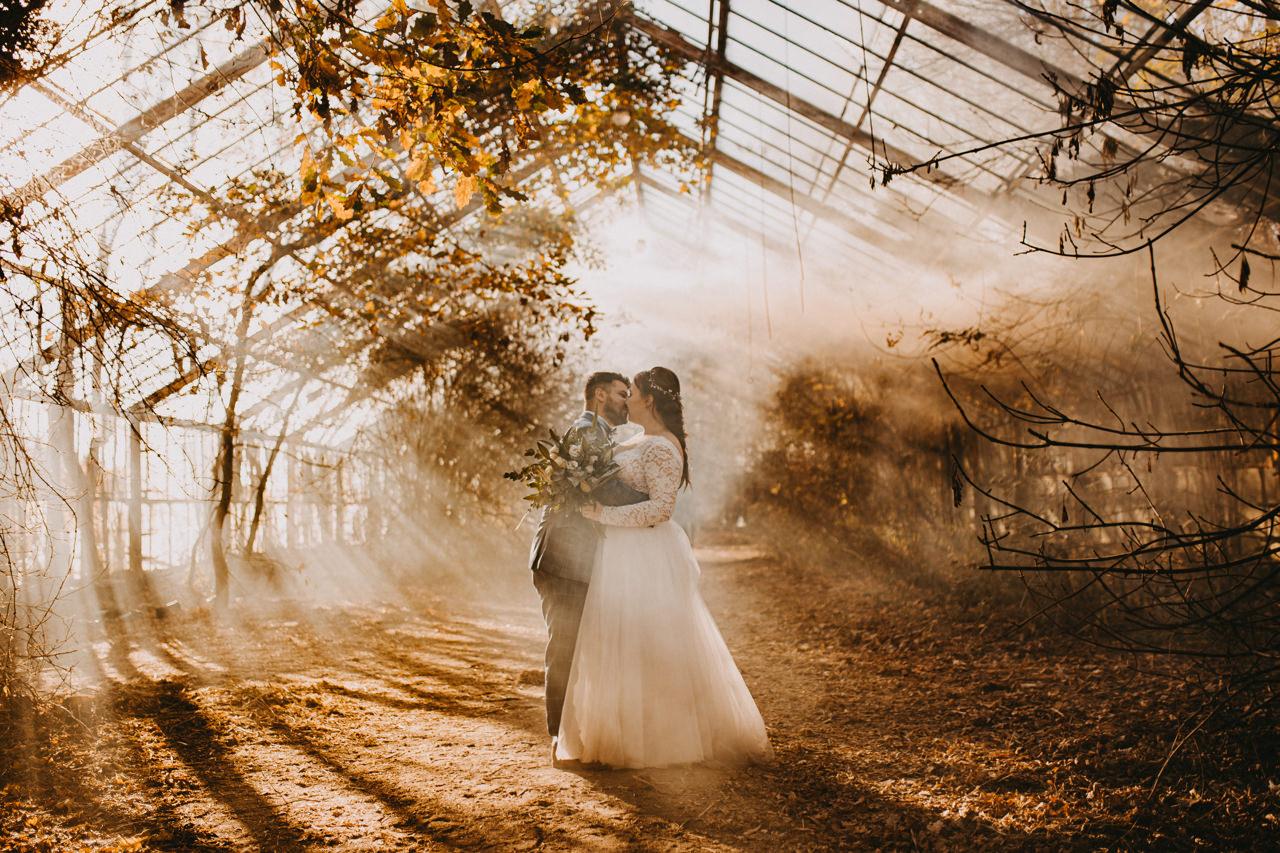 sesja ślubna w opuszczonej szklarni